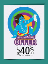 Vector Illustration Of A Background Or Brochure For Indian Festival Of Happy Janmashtami Celebration.