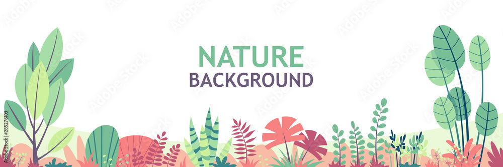 Fototapeta Flat nature background with copy space for text, for banner, greeting card, poster and advertising