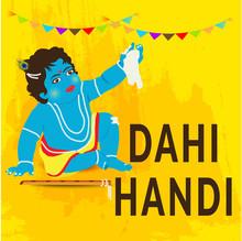 Vector Illustration Of A Background Or Brochure For Indian Festival Of Happy Janmashtami Celebration.