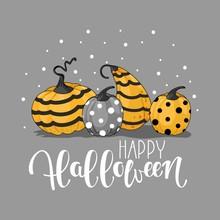 "Halloween Card. Template With Handwritten Inscription ""Happy Halloween"""