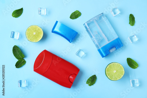Flat lay composition with natural male deodorants on light blue background Obraz na płótnie