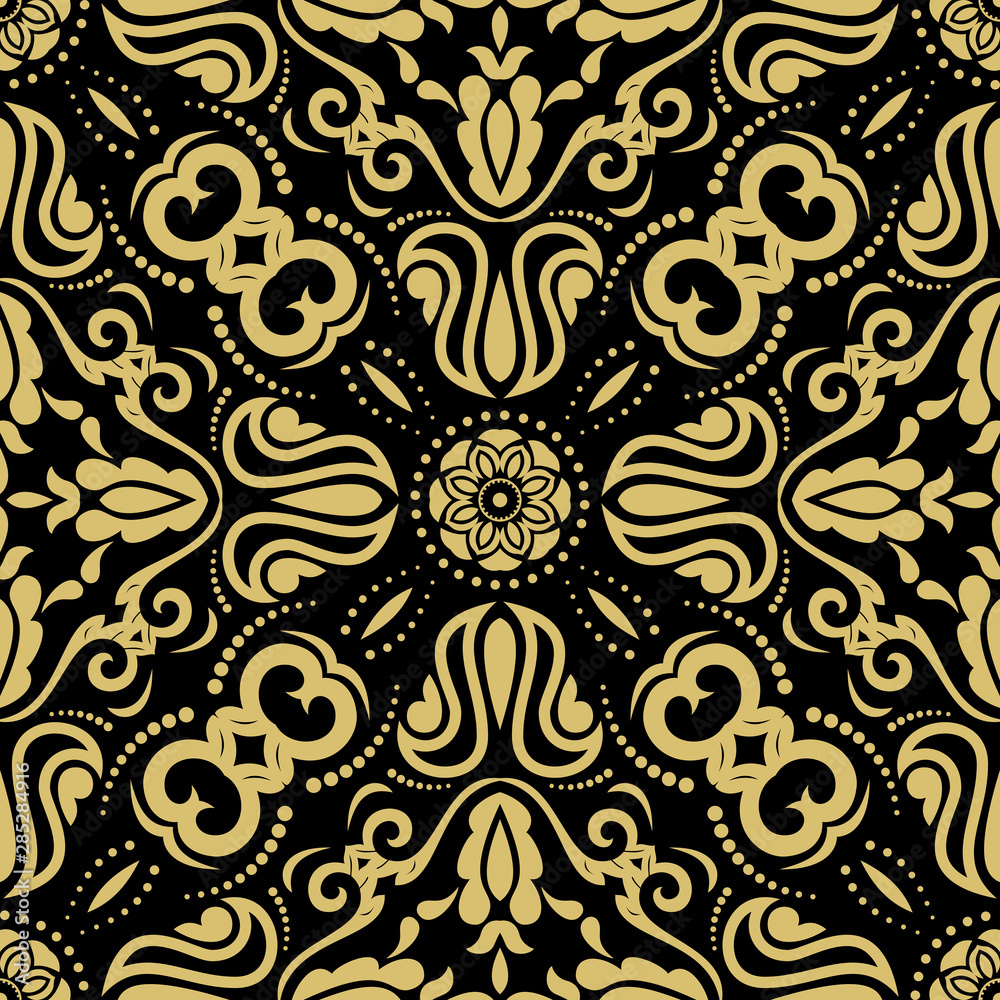 Orient classic pattern. Seamless abstract background with vintage elements. Orient black and golden background. Ornament for wallpaper and packaging