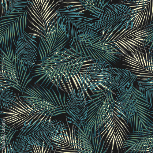 mata magnetyczna Abstract exotic plant seamless pattern. Tropical palm leaves pattern, vector botanical background.
