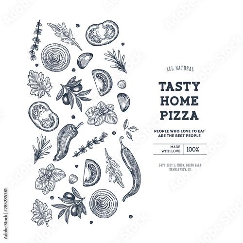 Fototapeta Pizza design template. Italian pizza ingredients. Vector illustration obraz