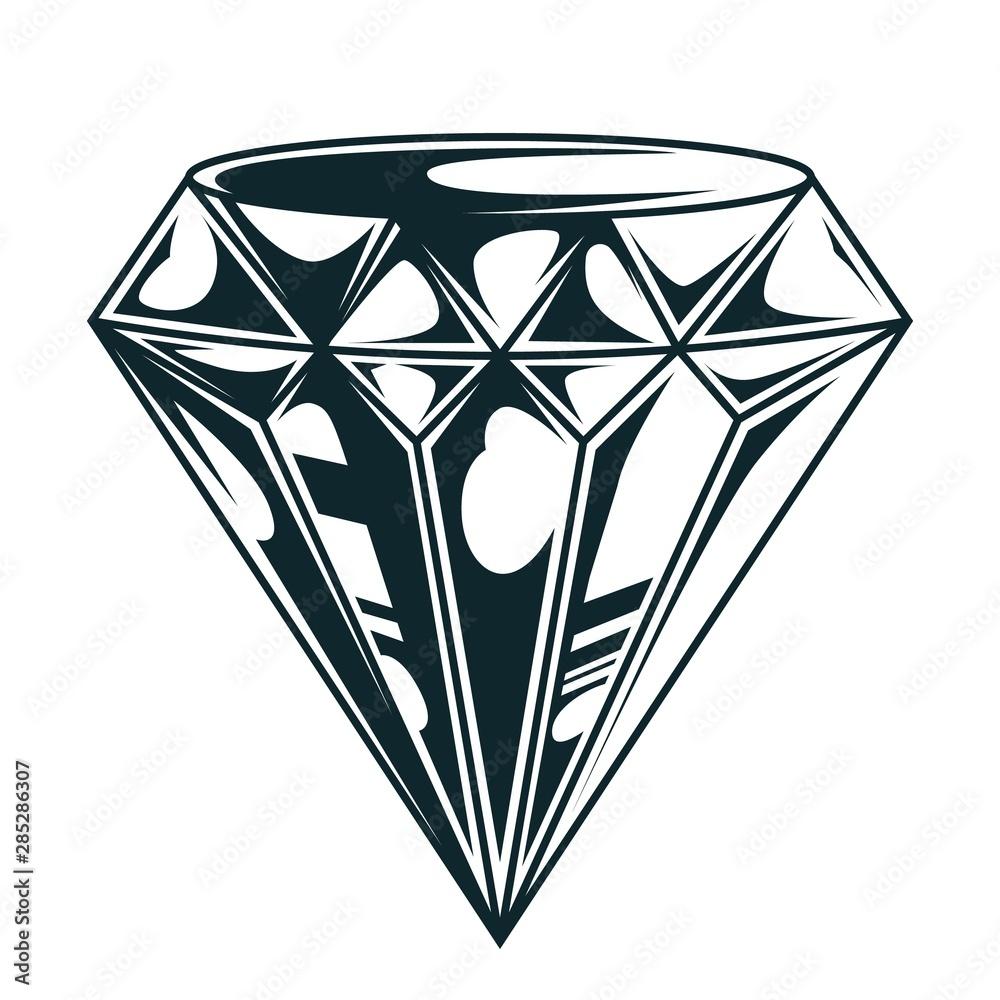 Fototapeta Vintage elegant diamond monochrome concept