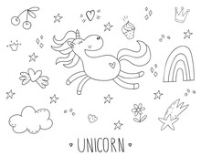 Cute Hand Drawn Coloring Page With Character Unicorn. Vector Illustration. Print For Kids. Cartoon Print.