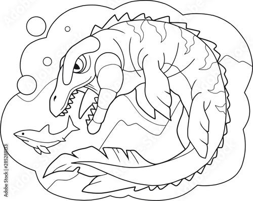 Photo  cartoon prehistoric dinosaur mosasaurus coloring book funny illustration