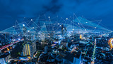 Fototapeta Miasto - Smart city and internet of things, wireless communication network, abstract image visual,IoT Internet of Things,5G network digital hologram.
