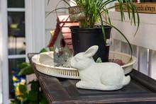 Ceramic White Rabbit With Bird...
