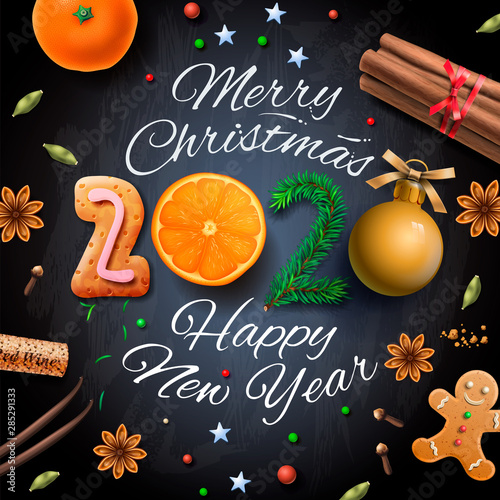 Merry Christmas 2020 Christian Merry Christmas, Happy New Year 2020, background With Typography