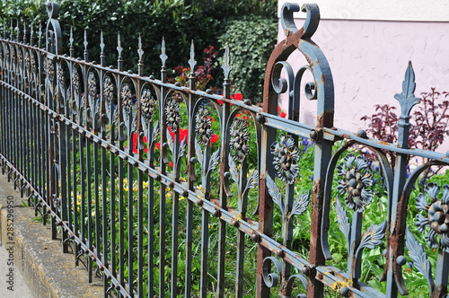 Canvas Print old rusty wrought iron fence at a garden