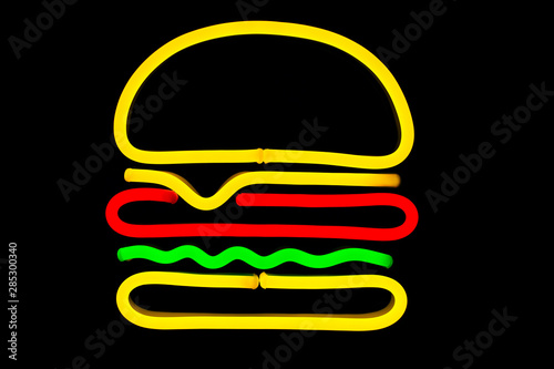Glowing neon burger sign on isolated black background. Neon concept. Modern style. Neon sign.