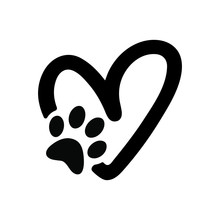 Paw Print With Heart, Animal Love Symbol, Isolated Vector
