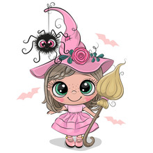 Cartoon Witch In Pink Dress And Hat