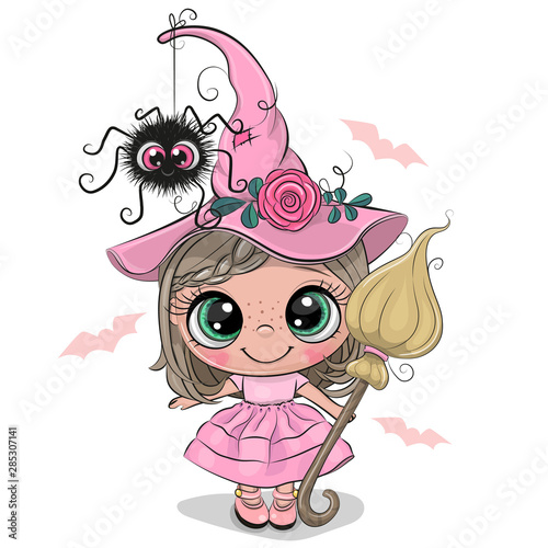 Foto Cartoon witch in pink dress and hat