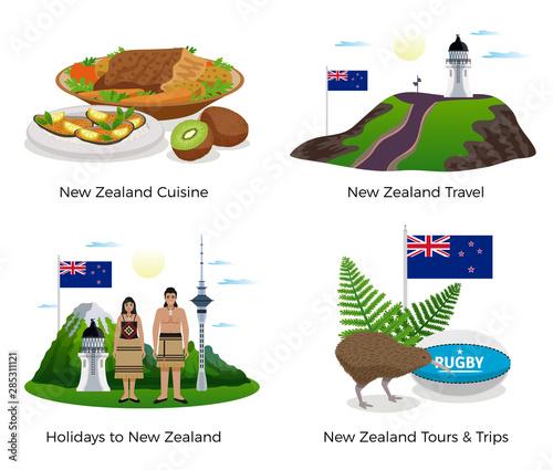 Fotografie, Obraz  New Zealand Tourism Concept Icons Set
