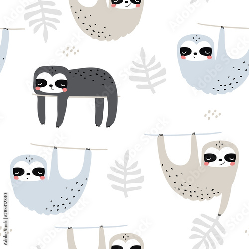 Photo Seamless childish pattern with funny sloths
