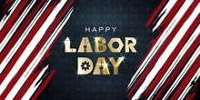 Labor Day September 2 Background,united States Flag, Greeting Card With Brush Stroke Background In United States National Flag Colors, Modern Design Vector Illustration