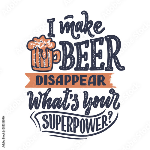 Fotografia  Lettering poster with quote about beer in vintage style