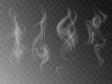 Smoke Isolated On Transparent Background. Vector  Fog, Vapor Set.