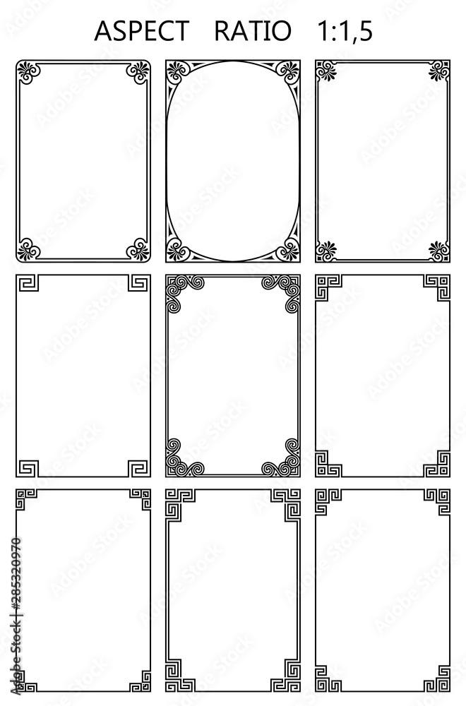 Fototapety, obrazy: Set of vector rectangular frames in traditional greek style