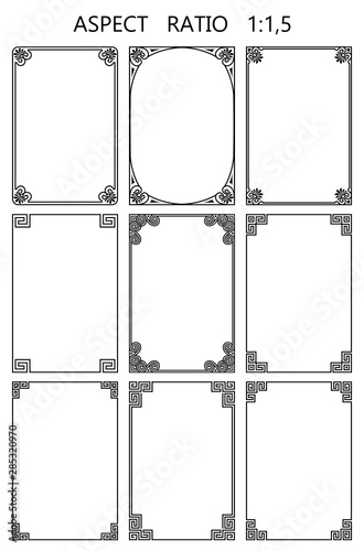 Set of vector rectangular frames in traditional greek style Wall mural