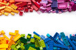 canvas print picture - Colorful toy bricks frame with white empty space for your content