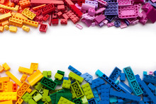 Colorful Toy Bricks Frame With...