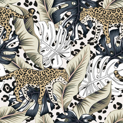 Tropical leopard, banana, monstera palm leaves, animal print background. Vect...