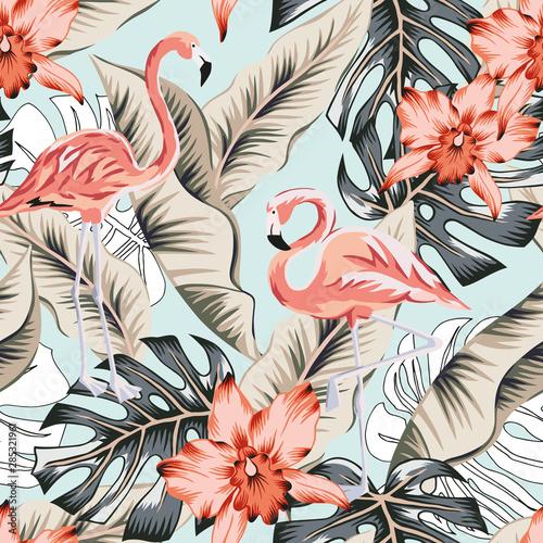 tropikalny-rozowy-flaming-kwiaty-orchidei-banan-liscie-palmy-monstera-jasnoniebieskie-tlo-wektor-wzor-ilustracja-dzungli-egzotyczne-rosliny-ptaki-letni-kwiatowy-wzor-rajska-przyroda