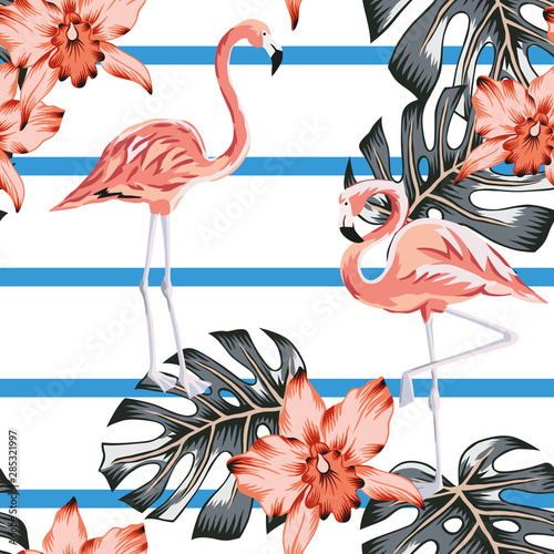 Tropical pink flamingo, orchid flowers, monstera palm leaves, striped background. Vector seamless pattern. Jungle illustration. Exotic plants, birds. Summer floral design. Paradise nature  © ojardin