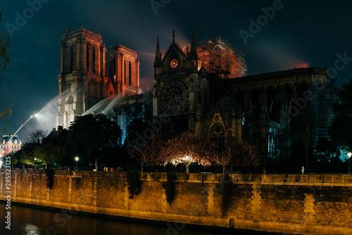 Incendie de la cathédrale notre dame de paris Canvas Print