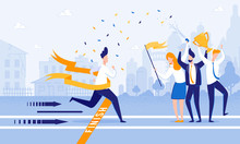 Running Man Crosses Finish Line. Meet Firework Man