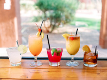 Colorful Alcoholic Drinks On Table