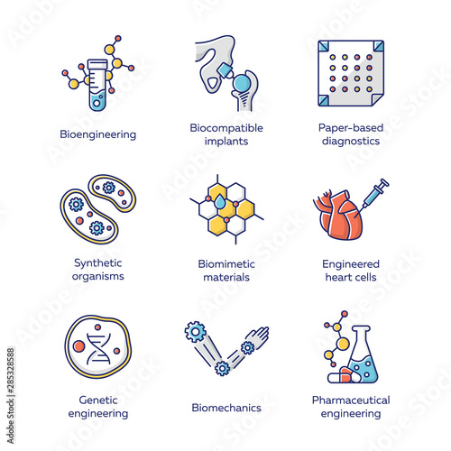 Obraz Bioengineering color icons set. Biotechnology for health, evolutionary researching, new materials creating. Molecular biology, biomedical and molecular engineering. Isolated vector illustrations - fototapety do salonu
