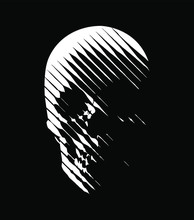Vector Skull Line-art . Stylised Human Skull Front View, Made By Diagonal Lines. White Lines On Black Background. Ideal Logo Graphic Element.