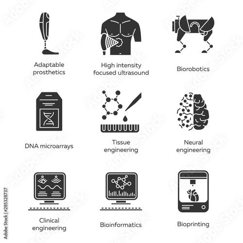 Bioengineering glyph icons set Wallpaper Mural