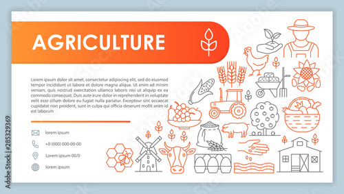 Farming web banner, business card vector template Canvas Print