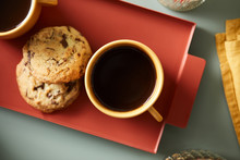 Black Coffee And Chocolate Chip Cookies.