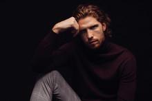 Man Fashion Model Posing At Studio
