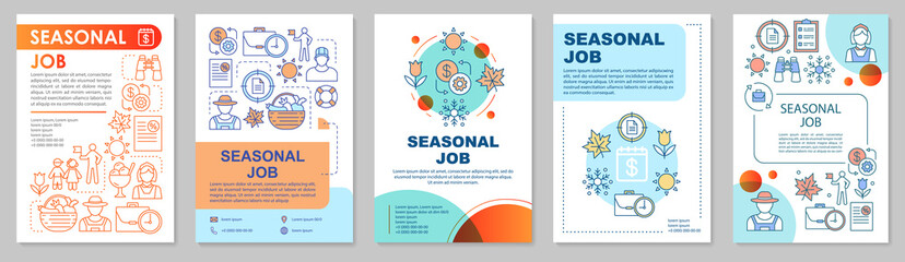 Seasonal job brochure template layout. Temporary employment. Flyer, booklet, leaflet print design with linear illustrations. Vector page layouts for magazines, annual reports, advertising posters