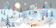 Holiday winter landscape with mountains,snow falling, winter tree, snow man,polar bear playing ice skates,mommy and son reindeers,Merry Christmas landscape background, Vector illustration
