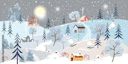 Montage in der Fensternische Dunkelgrau Holiday winter landscape with mountains,snow falling, winter tree, snow man,polar bear playing ice skates,mommy and son reindeers,Merry Christmas landscape background, Vector illustration