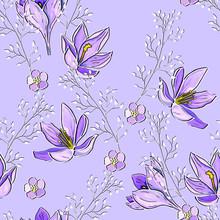 Lilac Mauve Seamless Pattern W...