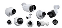 CCTV Camera Set White Isolated For Video Surveillance Background. Smart Home Concept