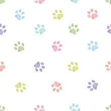 Pastel Colored Doodle Paw Prints Seamless Pattern