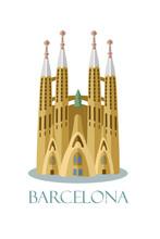 Sagrada Familia Of Barcelona Vector Illustration. Famous Catalonian Cathedral.