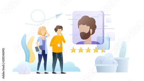 Job casting, HR agency flat vector illustration. Man and woman evaluating applicant CV cartoon characters. Professional talent management, headhunting metaphor. Recruitment company, workforce search.