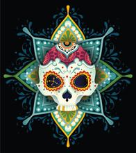 Dzień śmierci, Kolorowa Czaszka Z Kwiatowym Wzorem, Ornamentem W Pastelowych Kolorach Na Tle Roślinnej Mandali