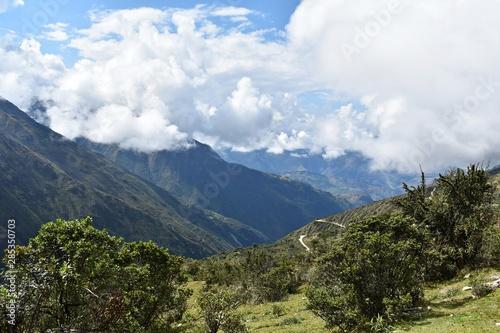 Fototapeta Mountains on Salkantay Trek in Peru, the road to Machu Picchu. obraz na płótnie